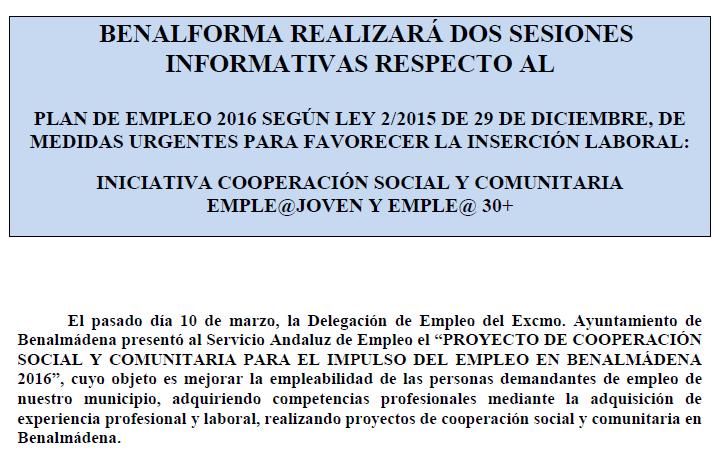 Sesiones Informativas Plan Empleo 2016