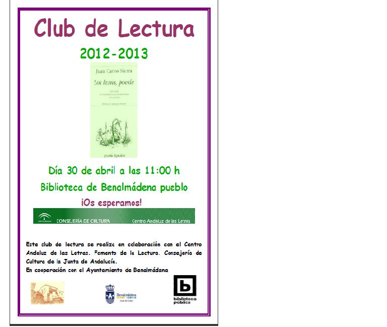 CLUB DE LECTURA: MAÑANA