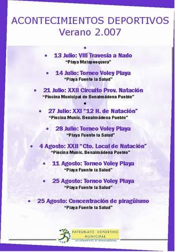 AMPLIA OFERTA DE ACTIVIDADES DEL PDM PARA EL VERANO 2007