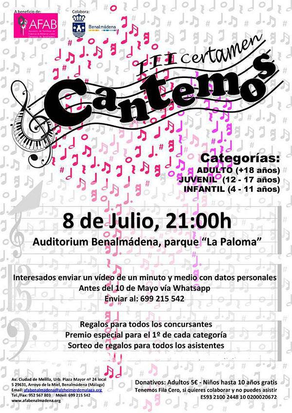Abierto el casting para participar en la tercera edición del Certamen Cantemos, a favor de AFAB