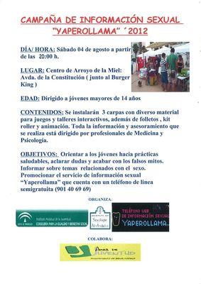 Arroyo de la Miel acoge este sábado la campaña de Información sexual