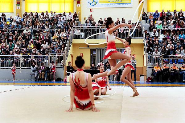 Más de 240 gimnastas ofrecen una exhibición en el Polideportivo Municipal de Arroyo.