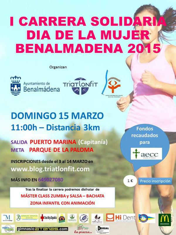 Benalmádena acogerá el Domingo la celebración de la I Carrera Solidaria de la Mujer.