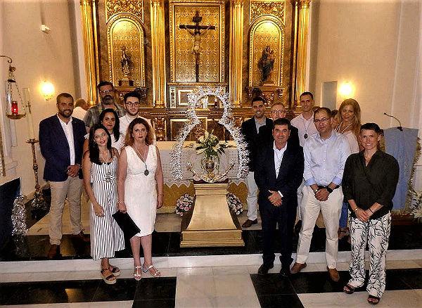 La Hermandad del Nazareno presentó la nueva ráfaga que lucirá la Virgen de la Cruz en procesión el próximo 15 de agosto