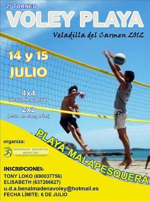 """Actividades Deportivas. """"2º Torneo Voley Playa Veladilla del Carmen""""."""