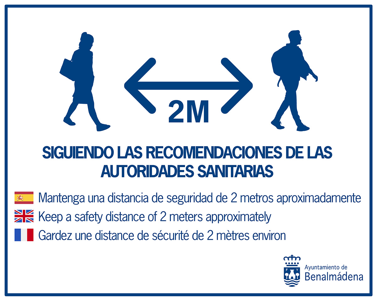 KEEP A SAFETY DISTANCE OF 2 METERS WHEN WALKING