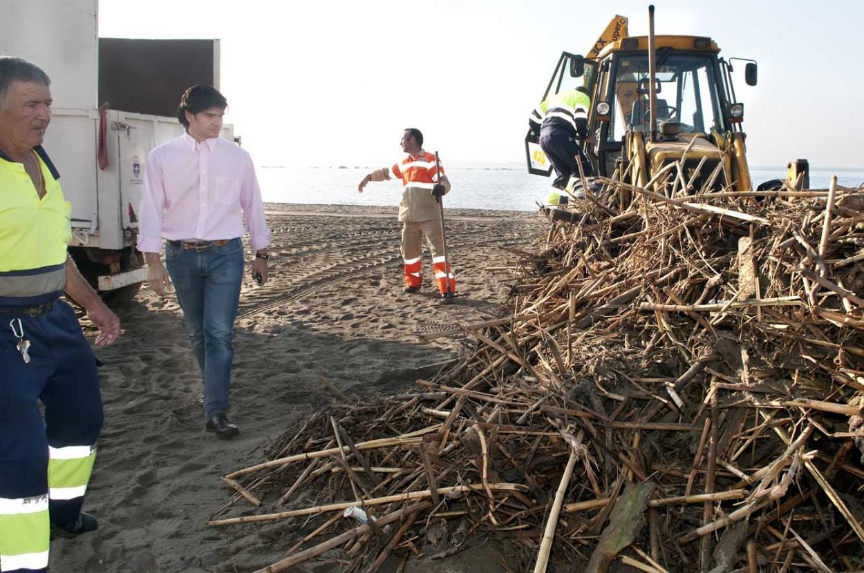 El Ayuntamiento de Benalmádena retira de las playas en las últimas 48 horas más de 22.000 kilos de cañas y troncos arrastrados por las lluvias