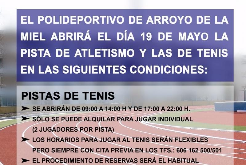 EL POLIDEPORTIVO DE ARROYO DE LA MIEL ABRE SUS PISTAS DE ATLETISMO Y TENIS