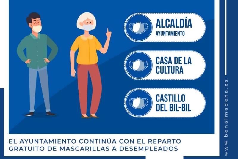 EL AYUNTAMIENTO CONTINÚA CON EL REPARTO GRATUITO DE MASCARILLAS A DESEMPLEADOS
