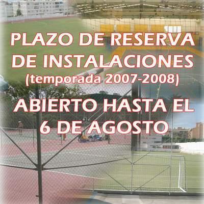 RESERVA DE INSTALACIONES PARA LA TEMPORADA 2007-2008
